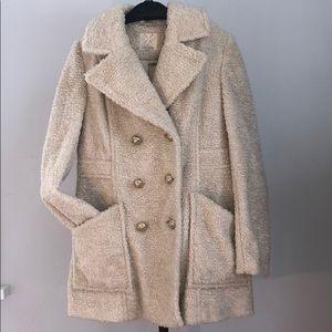 Anthropologie faux Sherpa-like coat, cream L